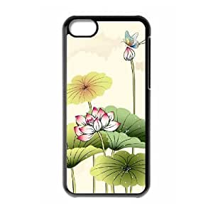 Beautiful lotus DIY Cover Case with Hard Shell Protection for Iphone 5C Case lxa#892957