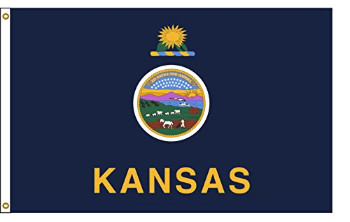 Kansas 3ftx5ft Nylon State Flag 3x5 Made In USA 3'x5'