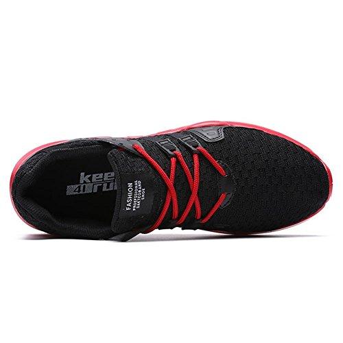 Tuoking Heren Casual Wandelschoenen Ademende Fashion Sneakers Duurzame Sportschoenen Lichtgewicht Sportschoenen Zwart & Rood