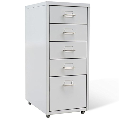 vidaXL 5 Drawer Metal Filing Cabinet Office Storage Organizer 11'' x 16.1'' x 27'' Gray by vidaXL