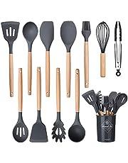 Köksredskapsset matlagning silikon redskapsset med hållare värmebeständig matlagningsverktyg vändare för bakning non-stick BPA-fri matlagningstillbehör prylar verktyg grå (12 st)