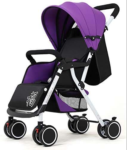 LNDD-Kid Pram Folding Baby Stroller with Safe 5 Point Point Harness 360 Degree Swivel Wheels Safe 4 Wheel Bumper Bar Suitable for Newborn Children Aged 0-3