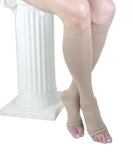 ITA-MED Diplômé Hauts de compression du genou, unisexe, microfibre, bout ouvert (25-30 mmHg), grand, BEIGE