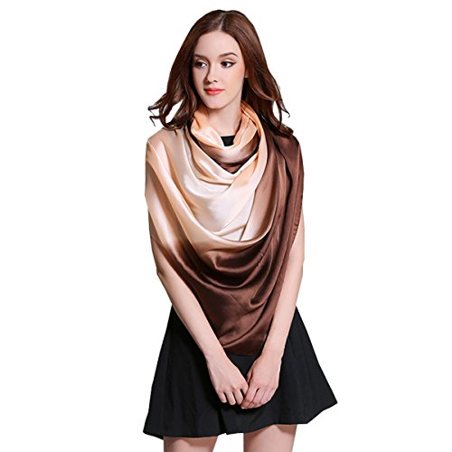 K-Elewon Silk Scarf Gradient Colors Scarves 100% silk Long Lightweight Sunscreen Shawls for Women