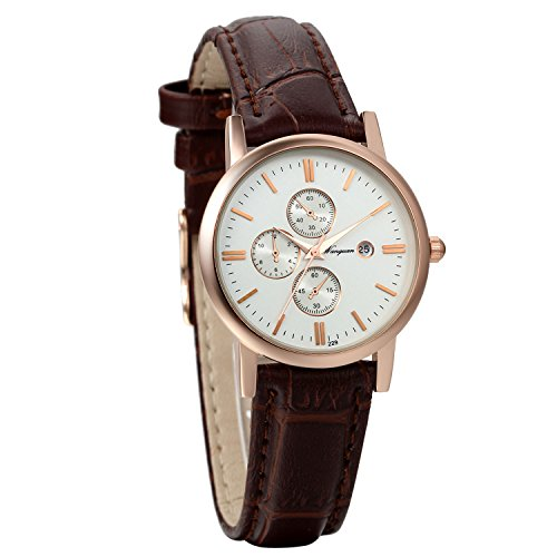 Avaner Women's Vintage Rose Gold Tone Calendar Wrist Watch Adjustabel Leather Band Cuff Watch