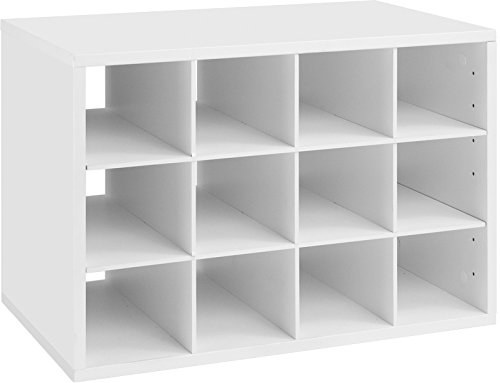 Organized Living freedomRail 12-Cubby Shoe Storage OBox - White