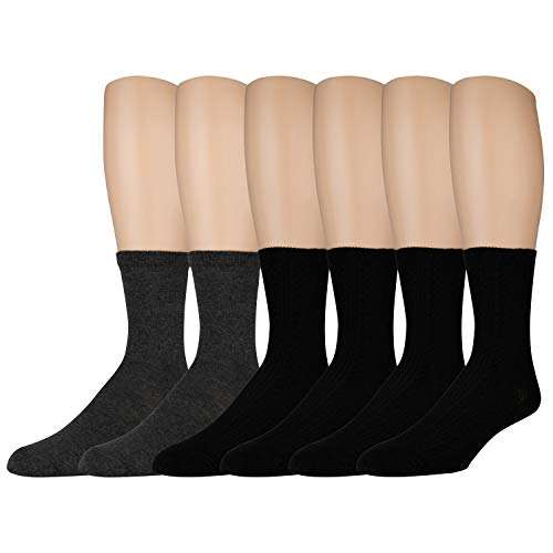 Sonoma Women's Dress Crew Socks - Solid and Patterned - 6 Pairs - Size 4-10 (Black Ribbed ()
