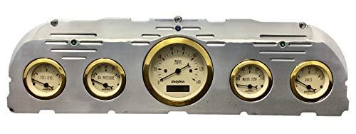 Dolphin Gauges 1960 1961 1962 1963 Chevy Truck 5 Gauge Dash Cluster Panel Set Mechanical Gold Bezel