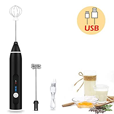 2019 Newest, Rechargeable Milk Frother Handheld Electric Foam Maker with 2 Stainless whisks, 3-Speed Adjustable Mini Blender Perfect for bulletproof coffee,Egg Mix, Latte Coffee Cappuccino, Hot Chocolate Matcha