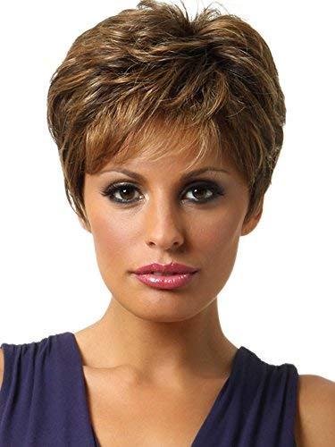 SmartFactory Natural Short Bob Curly Silk Top Human Hair Wig for Women Work -