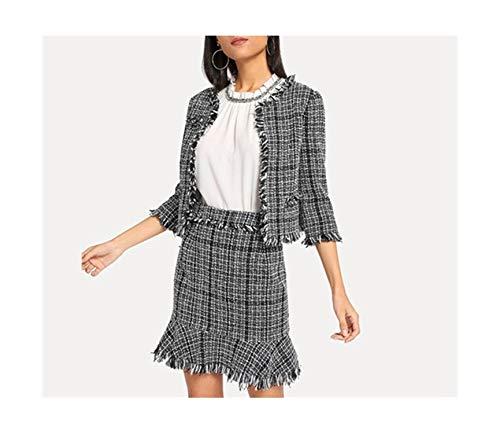 Tweed Skirt Set - Women Frayed Tweed Blazer & Skirt Set Black White Plaid 2 Piece Set