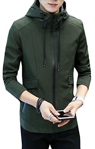 Slim Fit Verde Outcoat Manica Generici Lunga Sulla Giacca Moda Tasca Con Militare Cappuccio Mens Zq5Bxwx