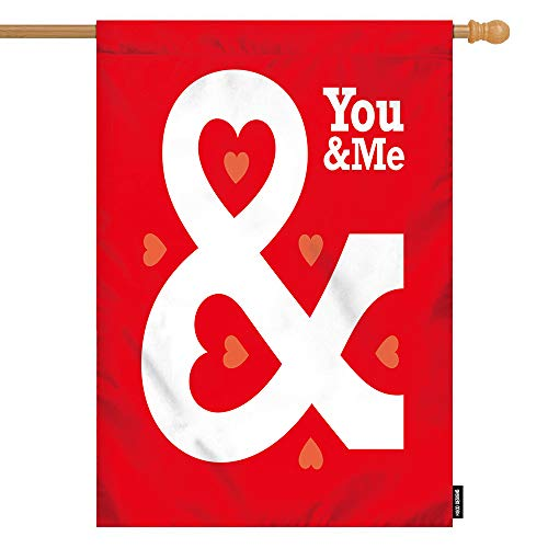 HGOD DESIGNS Love House Flag,Valentina Love Heart Ampersand with Quote You and Me Welcome Decorative House Flags Cotton Linen Waterproof for Garden Banner 28