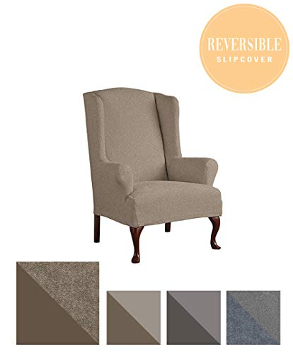 (Perfect Fit Serta | Slip-Resistant Form Fitting Furniture Slipcover for T-Wingback Chair, Reversible Stretch Suede (Chocolate Herringbone/Chocolate Solid))