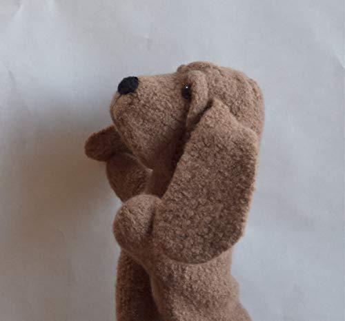 Handmade Felted Brown Wool Hound Dog Hand Puppet