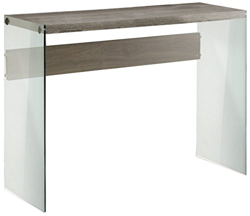 Monarch specialties I 3055, Console Sofa Table, Tempered Glass, Dark Taupe, 44