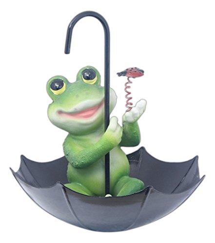 MayRich Frog Sitting in Umbrella Bird Feeder