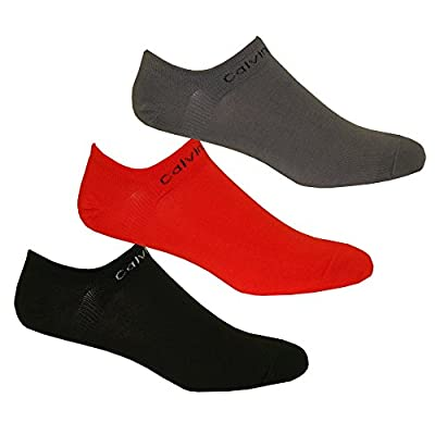 Calvin Klein 3-Pack Coolmax Cotton Men's Trainer Socks, Red/Grey/Black