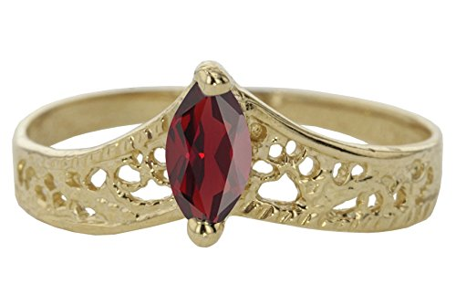 14k Yellow Gold Faceted Natural Genuine Red Garnet Filigree Marquise Chevron Pointed Thumb Ring Size - Natural Garnet Gold 14k Ring