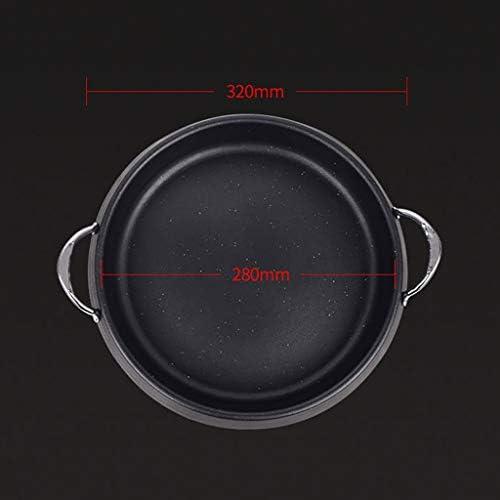 Guoguocy Grills électriques Barbecue Grill, Plate Grill, Multifonctionnel Frying Pan, Maifan Plate Stone Grill, avec Couvercle, adapté à Tout Stove