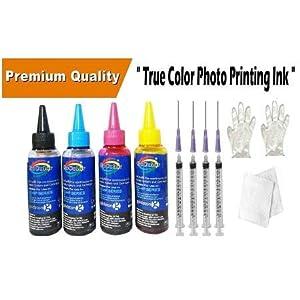 GoColor Compatible Refill Ink 4 Color in 100Ml Packing For HP Deskjet & Inkjet Printer Cartridge & CISS with Syringe Needle Gloves Napkin