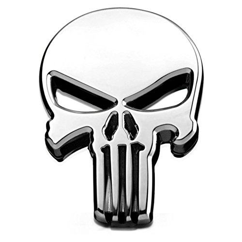 THE PUNISHER AUTO DECAL | TRUCK EMBLEM | CAR STICKER (METAL SILVER)