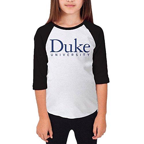 Price comparison product image Amone Youth Girl's 3/4 Sleeve Raglan Duke Logo University Tshirt Black M