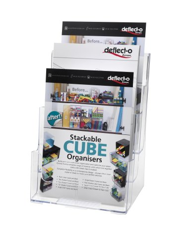 (Deflecto Multi-Compartment Docuholder, Countertop or Wall Mount, 3-Tiered Literature Holder, Large Size, Clear, 9-1/2