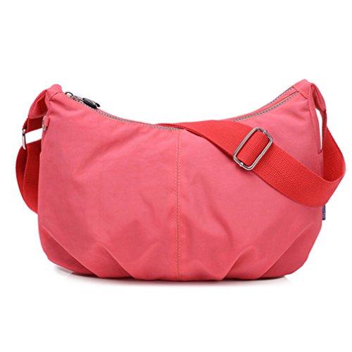 tianhengyi Mujer Estilo Sencillo Dumpling Forma Bolsa De Hombro Bandolera de Nailon Ligero Messenger Bag rosa
