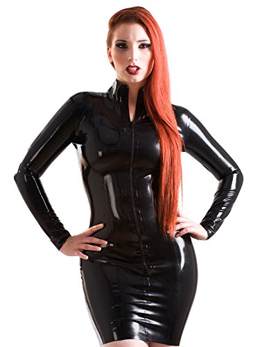 Latex Short Mistress Dress Black Size:S - Mistress Of The Dark Costume Uk