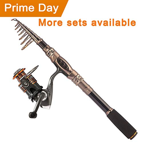 PLUSINNO Fishing Rod and Reel Combos Carbon Fiber Telescopic Fishing Rod with Reel Combo Sea Saltwater Freshwater Kit Fishing Rod Kit...