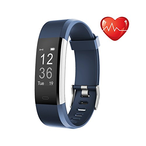 Fitness Tracker HR, Letscom Activity Tracker Watch with Heart Rate Monitor, IP67 Waterproof Smart Band, Step Counter Pedometer Watch for Kids Women and Men (Purple) (Blue) (Pedometer Heart Rate Monitor)