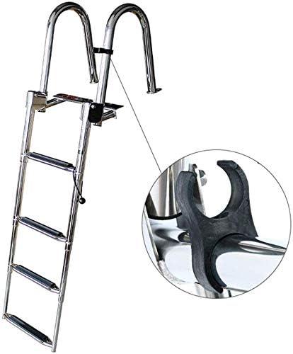 WSJ WSJEscalera telescópica de pontón/Barco/yate/Muelle/Piscina de 4 escalones, escalón de natación Plegable de Acero Inoxidable para Trabajo Pesado con escalón Extra Ancho: Amazon.es: Hogar