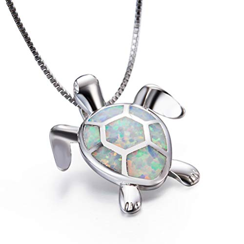 - Mom Gifts 925 Sterling Silver Sea Turtle Blue Opal Women Pendant Necklace Earrings (Turtle Necklace-White)