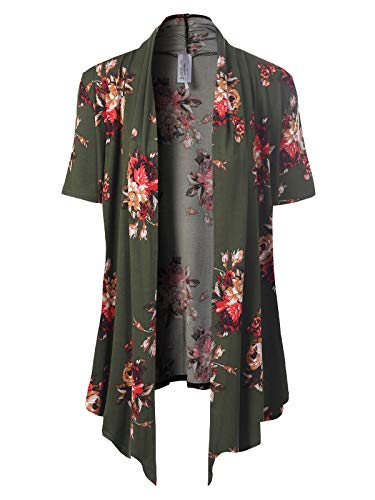 MixMatchy Women's [Made in USA] Solid Jersey Knit Short Sleeve Open Front Draped Cardigan (S-3XL) Olive/Red Flower Print 2XL