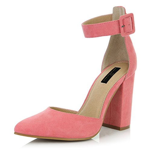 DailyShoes Women's Casual Pointed Toe Chunky Ankle Strap Buckle High Heels Sandals, Mauve Suede, 10 B(M) US
