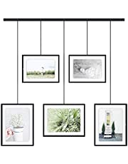 Umbra Exhibit Picture Frame Gallery Set Adjustable Collage Display for 5 Photos, Prints, Artwork & More (Holds Two 4 x 6 inch and Three 5x7 inch Images), 11x14 (Floats 8-1/2x11), Black Photo Display (1013426-040)