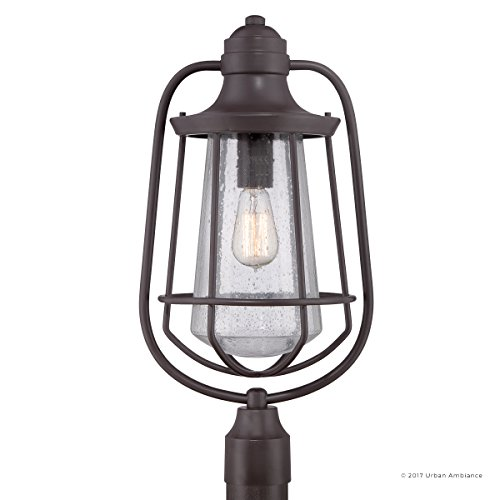 Luxury Vintage Outdoor Post Light, Large Size: 23''H x 11''W, with Nautical Style Elements, Cage Design, Estate Bronze Finish and Seeded Glass, Includes Edison Bulb, UQL1124 by Urban Ambiance by Urban Ambiance (Image #7)