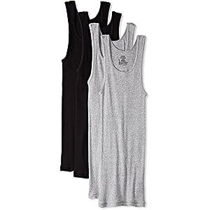 Hanes Men's Ultimate Comfortsoft Dyed Tank Undershirt (4-Pack) (XX-Large, Black/Grey)