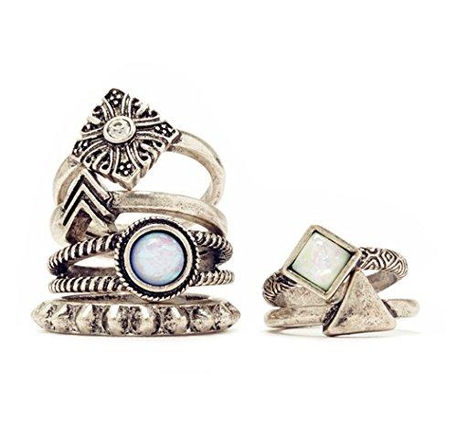 6pc/lot estilo Vintage bañado en plata Juego de anillos de cristal
