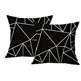 Sinland Cotton Linen Square Decorative Throw Pillow Cover Modern Geometric Design Cushion Cover Home Bedding Accessories 18Inchx18Inch Pack of 2