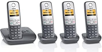 Gigaset A400 A Quattro oscuro, Analógica – Teléfono inalámbrico Incluye AB, con 3 terminales adicionales, contestador automático, gráficos de pantalla, función manos libres: Amazon.es: Electrónica