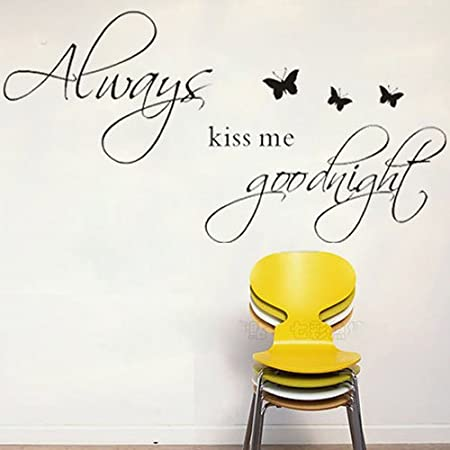 DIY Wall Sticker Love Saying Kiss Me Goodnight Word Art Romantic Quote  Butterflies Dorm Kids Room