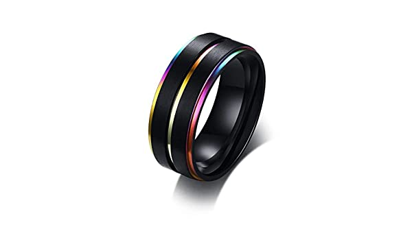 Thin Blue Line on White Fashion Tungsten Jewelry JEWURA Couple Love Ring