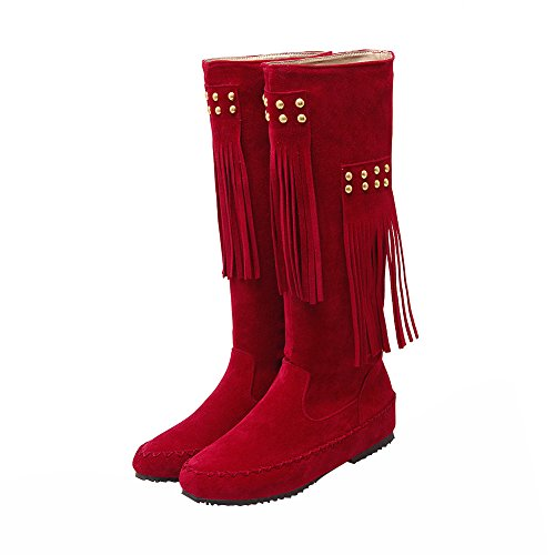 Moccasin Suede Flat Fringe Women's High Fashion Eclimb Red Mid Calf Boots 5t6qaw7