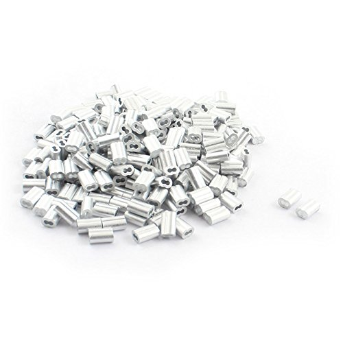 SODIAL(R) 250 Pieces Aluminum Hourglass Sleeve 2mm x 9mm for 1.5mm Wire Rope