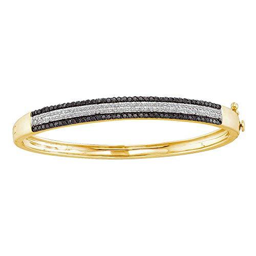 Mia Diamonds 14kt Yellow Gold Womens Round Black Color Enhanced Diamond Bangle Bracelet (1.40cttw) (I2-I3)