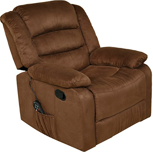 Rocker Upholstered Brown (Relaxzen 60-701011M Massage Rocker Recliner with Heat and USB, Brown Microfiber)