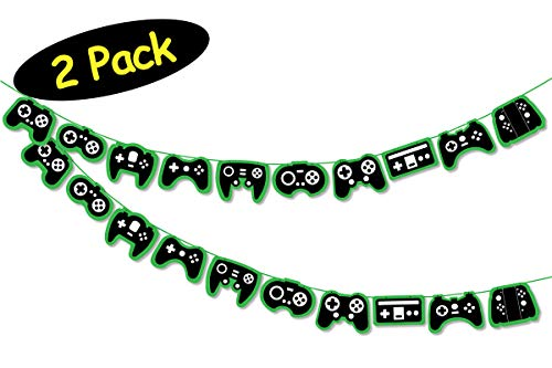 Game On Party Banners 2-pack Video Game Controllers // Gamer Party Supplies // Video Game Birthday Party Banners // Gamer Party Decor // Pixel Party Fortnite Minecraft Roblox Xbox Playstation // Free