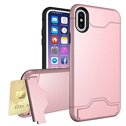 Crosspace iPhone XR Case, iPhone XR Wallet Case with Card Slot Holder Kickstand Dual Layer Hybrid Hard PC Stand Protective Cover for iPhone XR 6.1-Rose Gold